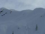 Skiing across Shuksan arm to find some pow